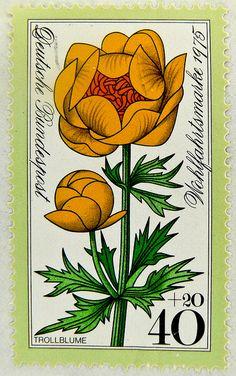 stamp Germany 40+20 pf. blume flower Trollblume globeflower (Trollius)