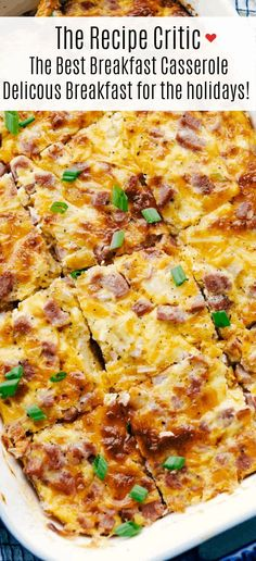 The Best Breakfast Casserole is a thick and creamy egg base with shredded potatoes, chunks of ham and flavorful cheese blends that bakes up in no time. Make ahead or enjoy the morning of during the holidays! recipe make ahead The Best Breakfast Casserole Healthy Breakfast Casserole, Breakfast Desayunos, Breakfast Dishes, Healthy Breakfast Recipes, Brunch Recipes, Healthy Recipes, Breakfast Cassarole, Breakfast Potatoes, Egg Cassarole