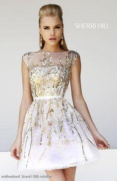Satin Lace Gold A-line Short Sherri Hill Dress 21212