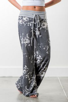 RubyClaire Boutique - Dusted Rose Wide Leg Loungers | Charcoal, $32.00 (https://www.rubyclaireboutique.com/dusted-rose-wide-leg-loungers-charcoal/) Women's Pajama Pants | Floral Loungers | Yoga Pants | Women's Loungewear | Floral Pajamas