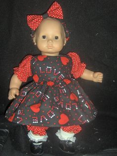 Heart Valentine Dress Panties and Headband Doll by smarschel, $16.99