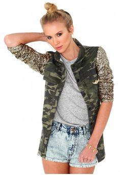 Fadia Camouflage Jacket With Gold Sequin Sleeves http://www.missguided.co.uk/fadia-camouflage-jacket-with-gold-sequin-sleeves    #WIN #Clothes #Fashion #Style #Love #Valentines #February #Competition #Want #Crush #Missguided I NEED THIS JACKET