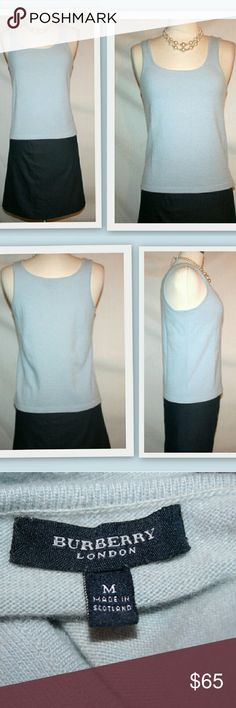 "Burberry London cashmere tank top Timeless cashmere pullover tank top by Burberry.  In a pale blue. Scoop neck.  Made in Scotland  100% cashmere   Bust 33"" unstretched  Waist 32"" Length 22"" Burberry Tops Tank Tops"