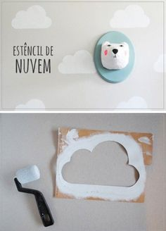 A cloud template for quick children's room wall design, room ideas wall … - Kinderzimmer Nursery Wall Decor, Baby Decor, Nursery Room, Kids Decor, Boy Room, Home Decor, Baby Bedroom, Girls Bedroom, Bedroom Wall