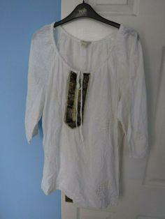 Kaftan Tops, Embroidered Tunic, White Embroidery, Sheer Chiffon, Tunic Shirt, Monsoon, Size 16, Sequins, Ruffle Blouse