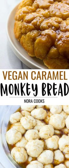 Vegan Caramel Monkey Bread- gooey, sweet, fluffy homemade pull apart bread with vegan caramel sauce! Vegan Caramel Monkey Bread- gooey, sweet, fluffy homemade pull apart bread with vegan caramel sauce! Vegan Dessert Recipes, Best Vegan Recipes, Vegan Sweets, Whole Food Recipes, Savoury Recipes, Healthy Recipes, Vegan Foods, Vegan Snacks, Vegan Vegetarian