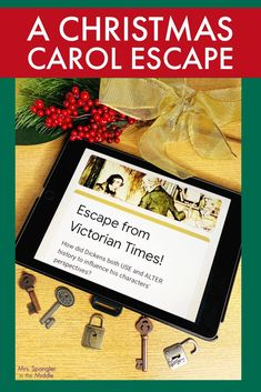 """After reading """"A Christmas Carol"""" have your middle school students analyze how Dickens both used and altered history which influenced his characters' perspectives with this NO PREP Digital and Printable Escape Room! Pre Reading Activities, Reading Games, Literacy Activities, Christmas Activities, Teaching Resources, Christmas Carol, Christmas Ideas, Ela Games, Middle School Ela"""