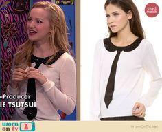 Liv's white sequin tie sweater on Liv and Maddie.  Outfit Details: http://wornontv.net/39101/ #LivandMaddie