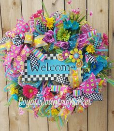 Deco Mesh Welcome Spring Wreath-Country Daisy Spring Wreath-Country Mesh Spring Wreath-Mesh Welcome Door Wreath-Mesh Spring & Summer Wreath by CoyoteCountryMarket on Etsy