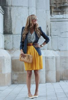 What a cute outfit...the yellow skirt really makes it! :)