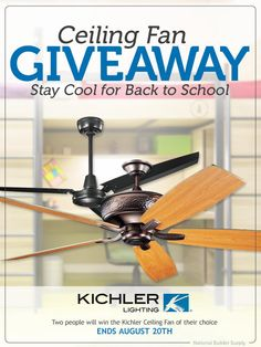 National Builder Supply is giving away TWO ceiling fans to two lucky people. Enter to win the fan of your choice, and stay cool for back to school.