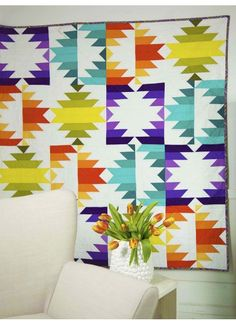 making it fun: Fiesta Forever! Star Quilts, Scrappy Quilts, Quilt Blocks, Quilting Fabric, Quilting Projects, Quilting Designs, Quilting Tutorials, Sewing Projects, Southwestern Quilts
