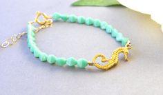 Mint Opal Glass Bead Bracelet - Vermeil Seahorse - Beaded Bracelet - Ocean Beach Nautical Jewelry - Graduation Gifts