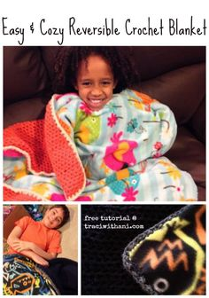 Easy Reversible #Crochet / #Fleece #Blanket Tutorial | traci (with an i).com free pattern / dou