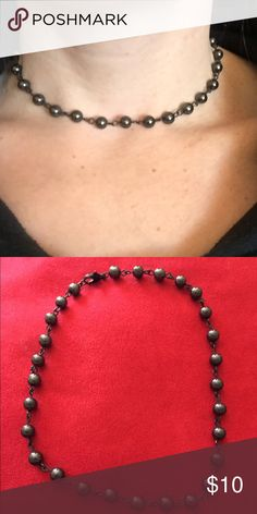 Dark Gray Hematite Stone Choker 6mm dark gray hematite stone Choker with black lobster clasp $10 each.  Can be adjusted to fit all Neck sizes. Jewelry Necklaces