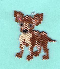 Hand Beaded Chihuahua dog  earrings by beadfairy1 on Etsy, $11.95