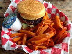 Jacks burger with sweet potatoes fries
