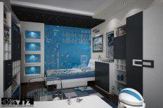 projekt pokoju dziecięcego, pokój dla chłopca, z ulubionym bohaterem, Star Wars, zdjęcie od okna w kierunku łóżka