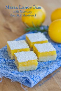 A perfect lemon bar recipe! Bright lemon flavor shines against the subtle resinous backdrop of rosemary-pine nut shortbread in these Meyer Lemon Bars.