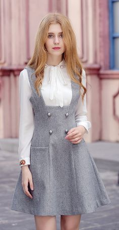 Boat Neck Zipper Closure Woolen Dress 69027 - Winter Outfits for Work Women's Fashion Dresses, Hijab Fashion, 70s Fashion, Womens Fashion, Style Fashion, Fashion Online, Fashion Tips, Simple Dresses, Casual Dresses