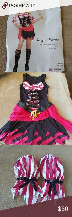 Rogue Pirate Halloween costume Brand new, never worn pirate costume! Includes dress with attached belt and puffed sleeves. Size is M/L (will fit size 4-8) Does not include hat or boots. Other