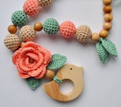 Mother and child / Teething necklace / Breastfeeding Necklace for Mom / Juniper bird Crochet 101, Crochet Baby Toys, Crochet Gifts, Crochet Lace, Crochet Patterns, Crochet Necklace Pattern, Crochet Earrings, Crochet Phone Cases, Crochet Mobile
