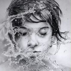 """Union with Water"" - Shiry {hyperreal female head splashed woman face b+w pencil drawing}"