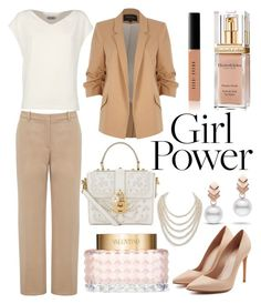 """""""Lady Boss"""" by ayiarundhati ❤ liked on Polyvore featuring River Island, Alexander McQueen, Dolce&Gabbana, Alberto Biani, Elizabeth Arden, Escalier, Bobbi Brown Cosmetics, Valentino and DaVonna"""