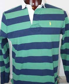 Ralph Lauren Polo Mens Rugby Shirt Large Custom Fit Pony Long Sleeve Striped