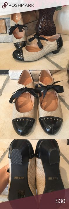 Chelsea Crew Vintage Inspired These are so cute!! Worn once!! Vintage inspired, Black patent leather and B's snake skin, with a black tie. Small heel very comfortable shoe only worn one night. Size 41 in European. No damage on the outside! Chelsea Crew Shoes Heels