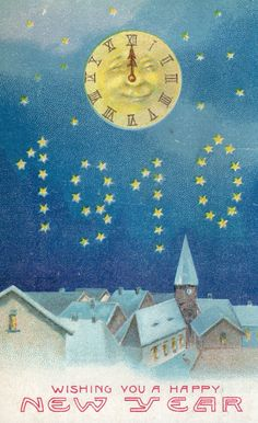 """1910"" Happy New Year postcard, with Moon Clock."