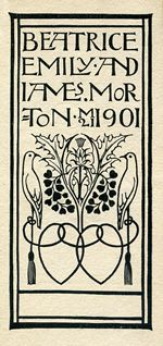 Bookplate designed by Charles Francis Annesley Voysey for Beatrice Emily & James Morton, 1901 (This bookplate commemorates their wedding, on 21st March 1901)