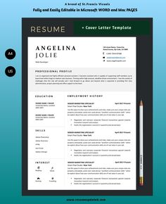 Fully custom resume and cover letter template to match Resume Cover Letter Template, Modern Resume Template, Business Plan Template, Creative Resume Templates, Letter Templates, Best Business Plan, Start Up Business, Business Planning, Professional Profile