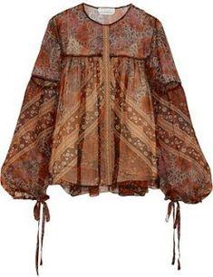 Chloé's featherweight blouse epitomizes the brand's feminine, bohemian spirit. This sheer silk-crepon style has a brown, burnt-orange and raspberry foulard print and wispy peasant sleeves - the drawstring ties emphasize their billowy shape beautifully. Batik Blazer, Blouse Batik, Batik Dress, Batik Fashion, Hijab Fashion, Fashion Outfits, Womens Fashion, Emo Outfits, Dress Fashion