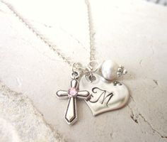 Children's Birthstone Cross Necklace. Girl's Heart Initial & Pearl Charm Necklace. Baptism Gift. First  Communion Gift. Birthstone Jewelry