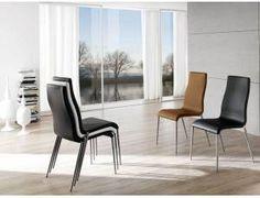 Sharp Sedia in ecopelle - Sedia impilabile con struttura in metallo e gambe in acciaio spazzolato. Seduta in ecopelle bianco, nero, grigio tortora, nocciola, antracite o testa di moro.    Confezione minima 4 Pezzi    DIMENSIONI: L.59,5 P.48 H.99    Prodotto da azienda Italiana   realizzato all'estero. Metal Chairs, Dining Chairs, Furniture, Home Decor, Metal Cafe Chairs, Dinner Chairs, Homemade Home Decor, Dining Chair, Metal Dining Chairs