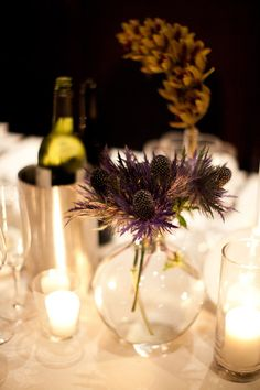 Just a few of these surrounding the ranunculas would be perfect! ...thistle and simple wild flower bouqets on the table's