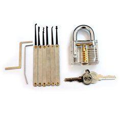 Transparent Practice Padlocks with 6pcs Unlocking Lock Pick Set Key Extractor Tool Lock Pick Tools. materiales de construccion