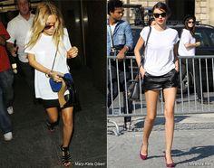Miranda Kerr, Mary Kate Olsen, black leather mini skirt + white tee