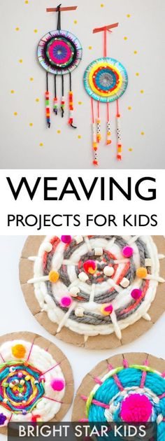 11 Weaving Projects For Kids - Bright Star Kids Kids will love making their own weavings & woven wall hangings. Enjoy our 11 weaving projects for kids.Arts And Crafts Style House ProductI'm a young mother of two beautiful kids years old and 9 months). Kids Crafts, Summer Crafts, Projects For Kids, Diy For Kids, Craft Projects, Arts And Crafts, Decor Crafts, Weaving For Kids, Weaving Art