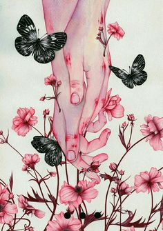 Colored pencil watercolor artwork drawing illustration of hands in pink flowers and butterflies Fantasy Kunst, Fantasy Art, Anime Kunst, Anime Art, Main Manga, Hand Kunst, Art Noir, Hand Art, Pretty Art