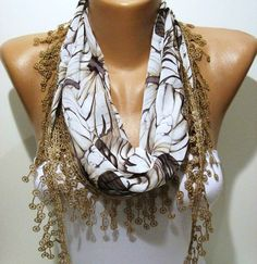 Light Brown and Elegance Shawl / Scarf with Lace by SwedishShop, $15.90