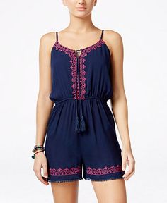 American Rag Sleeveless Embroidered Romper, Only at Macy's - Juniors Shorts - Macy's