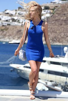 LoLoBu - Women look, Fashion and Style Ideas and Inspiration, Dress and Skirt Look Blue Summer Dresses, Blue Dresses, Short Dresses, Valentines Day Dress Code, Glamour, Street Style Summer, Casual Elegance, Summer Wear, Summer Ootd