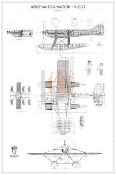 idrocorsa Aer.Macchi MC.72-Cod. DW-MC72-84x126 TRE VISTE