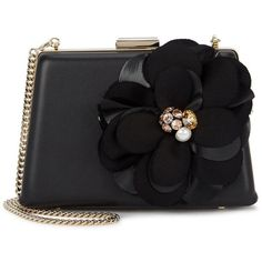 Lanvin Black Flower Appliqué Leather Clutch ($2,455) ❤ liked on Polyvore featuring bags, handbags, clutches, lanvin handbags, flower purse, magnetic purse, chain strap handbags and leather purses