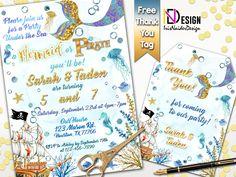 Pirate Invitations, Personalized Invitations, Birthday Invitations, Us Holidays, Photo Center, Thank You Tags, Mermaid Birthday, Rsvp, Pirates