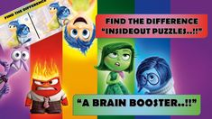 FIND THE DIFFERENCES - A BRAIN BOOSTER !!    INSIDEOUT PUZZLES    ROCK C... Animated Cartoons, Cool Cartoons, Emoji Quiz, Funny Riddles, The Odd Ones Out, Cartoon Fun, Brain Training Games, Puzzle Games, Right Brain
