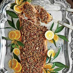 Pecan-and-Dill-Crusted Salmon | This refined whole side of salmon takes only 10 minutes to prep. | SouthernLiving.com