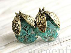 Real flower beetle stud earrings